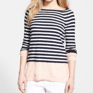 VINCE Striped Nautical Knit Sweater Color Block